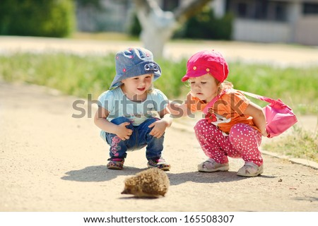 two baby friends looking at the hedgehog,