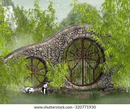 Two baby pandas next to a stone wall with circular doors in a bamboo forest. - stock photo