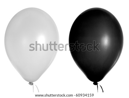 two balloons isolated on white - stock photo