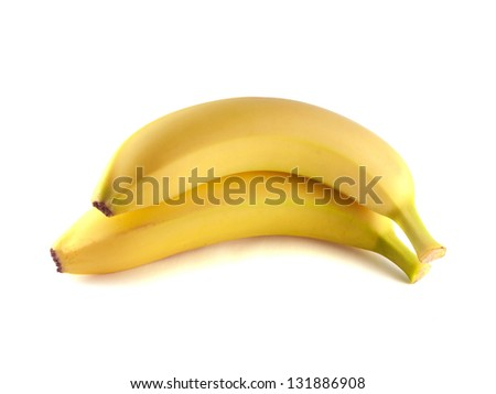 Two bananas isolated on white background (ripe). Healthy fresh fruit with vitamins. - stock photo