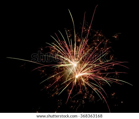 two bang fireworks on a black background  - stock photo