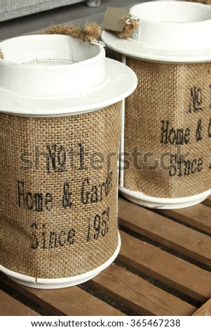 Two banks for decoration of burlap and metal. - stock photo