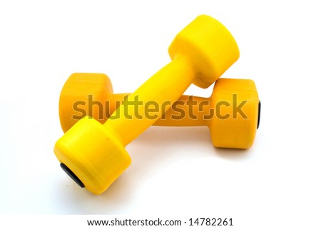 two barbells isolated on white - stock photo