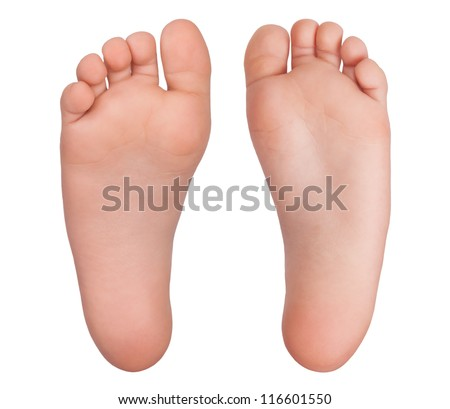 Two bare human feet on a white background - stock photo