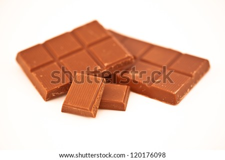 Two bars of chocolate against a white background