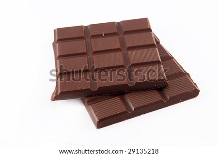 two bars of chocolate on a white background