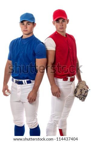 Two baseball opponents. Studio shot over white. - stock photo
