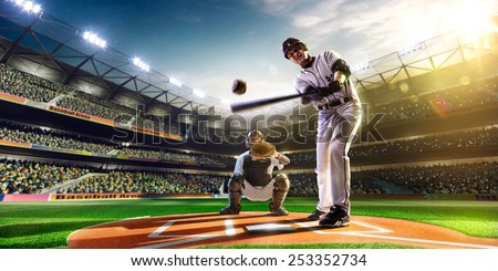 two baseball player in action - stock photo