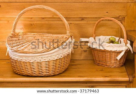 Two basket on a chest - interior - stock photo