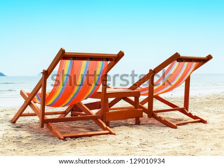 Two Beach Chairs - stock photo