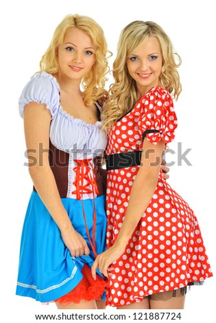 Two beautiful blonde women in carnival costumes of Mouse and Snow White. Isolated image.