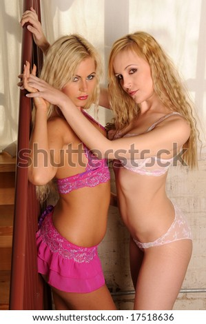 Two beautiful blondes in lingerie by a window
