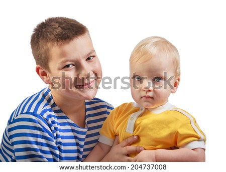 two beautiful boys smile isolated on a white background - stock photo
