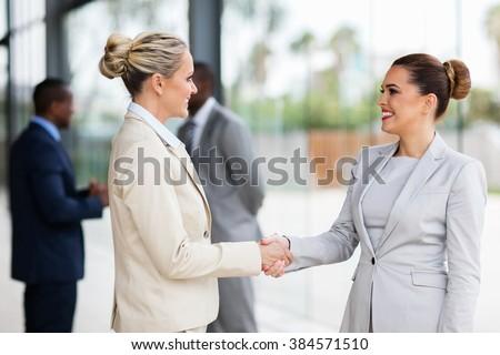 two beautiful businesswomen handshaking in office - stock photo