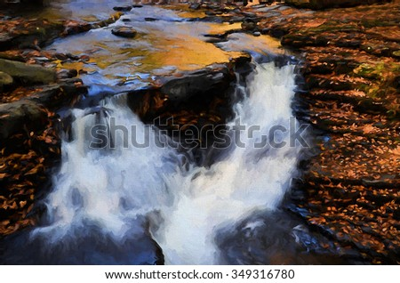 Two beautiful cascade waterfalls - located in the Poconos of Pennsylvania, transformed into a colorful painting - stock photo