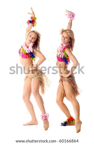 two beautiful dancers in hawaiian costumes isolated