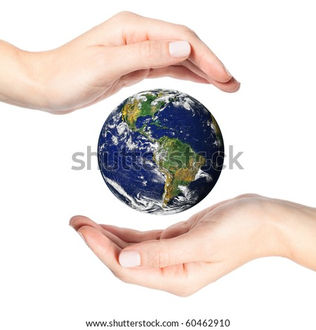 Two beautiful female hands surrounding the Earth on white (Earth image by NASA at visibleearth.nasa.gov)