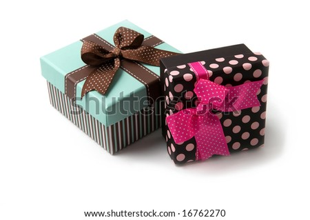 Two beautiful gift boxes isolated on white - stock photo