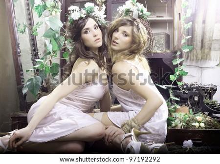 Two beautiful girls. Girlfriend. - stock photo