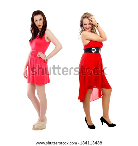 two beautiful girls with red dresses