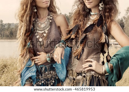 Two beautiful gypsy girls in ethnic jewelry