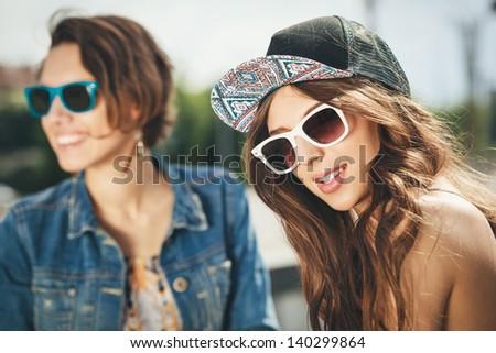 Two Beautiful Happy Girls Sunglasses On Stock Photo ...