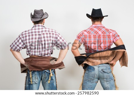 two beautiful men cowboy.  - stock photo