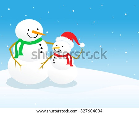 Two beautiful snowmen on falling snow background  - stock photo