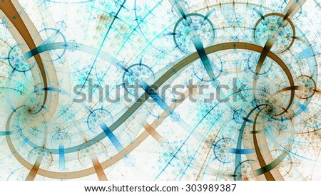 Two beautiful spirals interlocking and creating the infinity symbol with various branches overlapping and decorated with a detailed pattern of discs, all in pastel teal,blue,orange