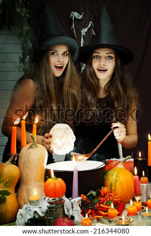 two beautiful witches brew the potion in the boiler - stock photo
