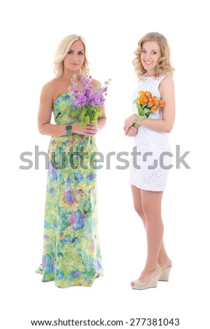 two beautiful women in dress with summer flowers isolated on white background