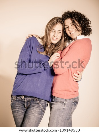 Two Beautiful Women Together - stock photo