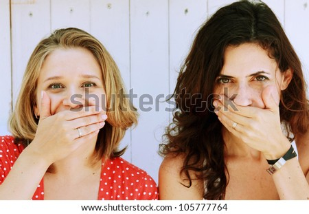 two beautiful women. Vintage colors. - stock photo