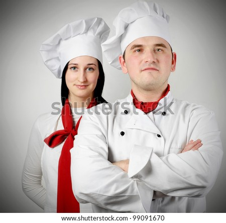 Two beautiful young chef