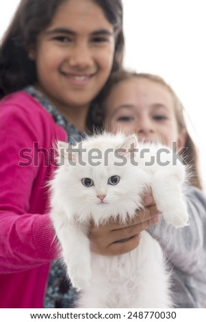 Two Beautifuls Girls Playing with Their Cat Isolated on White Background - stock photo
