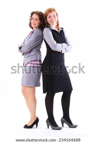 Two beauty business women together - stock photo