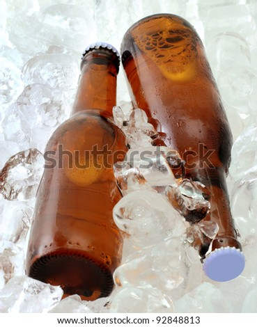 Two beer bottles on ice