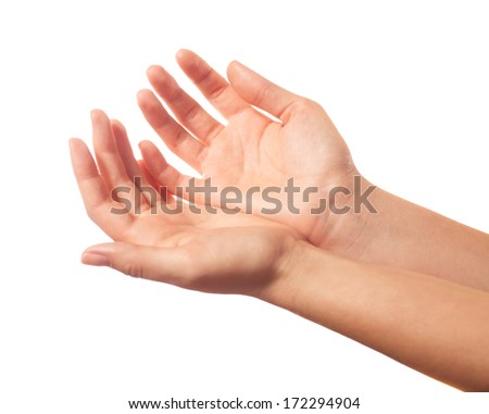Two begging hands on white background - stock photo