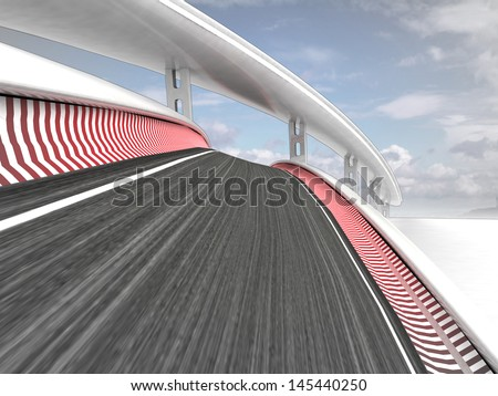 two bended race tracks on sky background illustration - stock photo