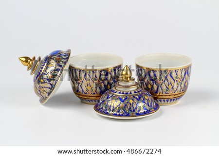 Two Benjarong porcelain