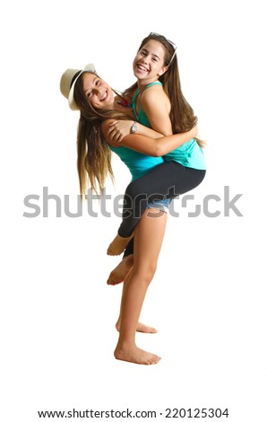 Two best friend girl in summer clothes having a great time- full body portrait - isolated on white - stock photo