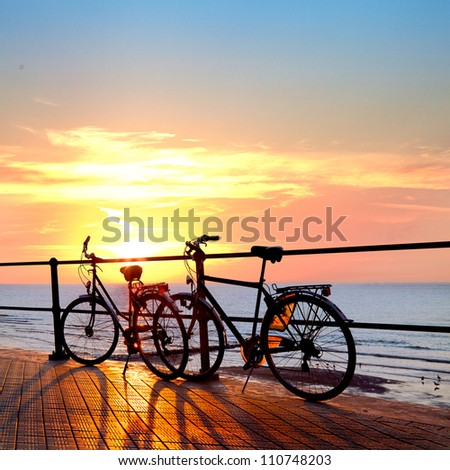 Two bicycle silhouette on a sunset. Summer landscape.