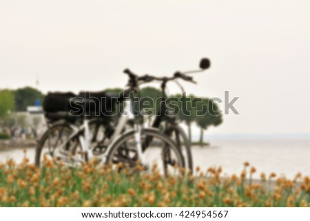 Two bicycles on a trip to the lake; defocus effect for background.