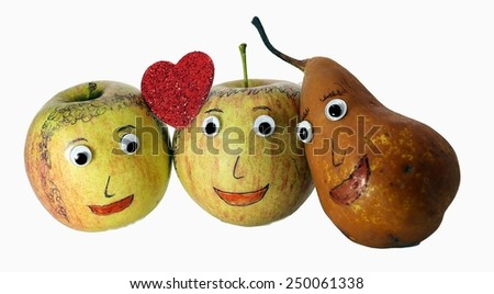 two big apples with the heart and a PEAR with eyes - stock photo