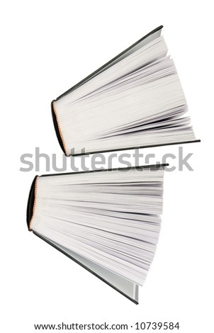 two big books partially open floating un white background