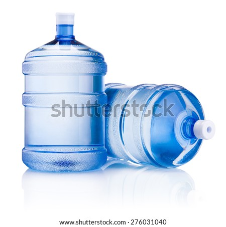 Two big bottle of water isolated on white background - stock photo