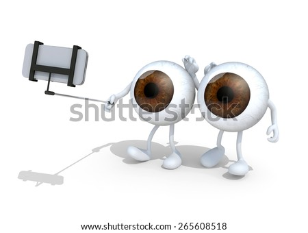 two big eyes with arms and legs take a self portrait with her smart phone, 3d illustration - stock photo