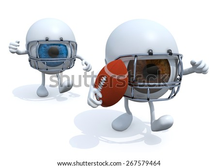 two big eyes with arms, legs, helmet and rugby ball, 3d illustration - stock photo