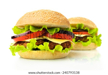 Two big hamburger on white background