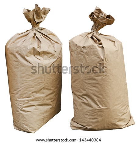 Two big paper bags isolated on white - stock photo
